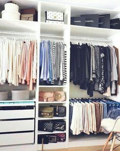 Cool 44 Creative Open Closet Design Ideas For Your Bedroom That You Need To Have Ikea Closet Organizer, Closet Organization, Organization Ideas, Clothing Organization, Organizing Tips, Ikea Pax Wardrobe, Wardrobe Closet, Open Wardrobe, Bedroom Wardrobe