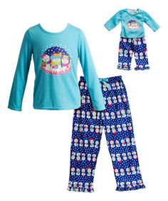 Look what I found on #zulily! Turquoise 'Snow' Sleep Top Set & Doll Outfit - Girls #zulilyfinds