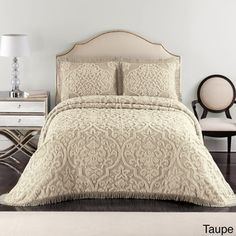 Layla Chenille Bedspread (Shams Sold Separately) - damask is such a great pattern for neutral spreads