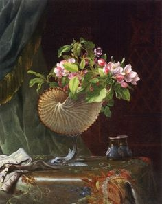 Still Life with Apple Blossoms in a Nautilus Shell ~ Martin Johnson Heade