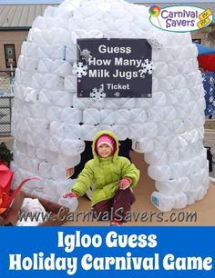 Cool Idea - DIY Giant Milk Jug Igloo for your Christmas Carnival, Reading Nook and more! Christmas Fundraising Ideas, Christmas Stall Ideas, Christmas Fayre Ideas, Christmas Carnival, Christmas Grotto Ideas, Carnival Activities, Carnival Games For Kids, Fun Winter Activities, Carnival Ideas