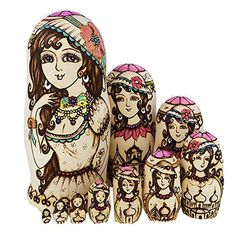 (26.30$)  Know more - http://aikad.worlditems.win/all/product.php?id=32738107574 - 10 Pcs/ Set Russian Matryoshka Doll Beautiful Girls Lady Nesting Dolls Wooden Hand Painted Craft for Kid Gift Home Decoration