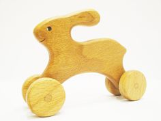 First Push Toy Lovely Hare  Learning toy for toddlers Montessori Waldorf Inspired Handmade Toys for boys and girls Push and Pull toys by WoodenCaterpillar on Etsy