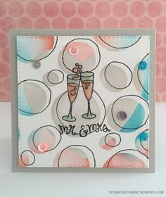 Mr.&Mrs. handmade card. Used #newtonsnook Years of Cheers stamp set; #SSSFAVE Irregular Dots Stencil; #SSSFAVE inks, cardstock and masking sheets.