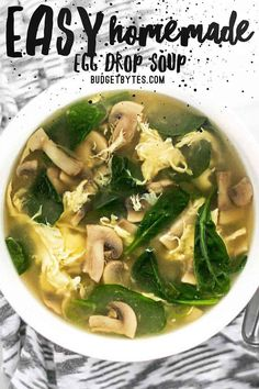 This fast and easy homemade egg drop soup is warm and soothing on cold days or when you're feeling under the weather. Comes together in under 30 minutes! Budgetbytes.com #soup #souprecipe #egg #chinesefood #comfortfood #easyrecipe #easydinner #healthyrecipes #healthyfood #yummy Vegetarian Recipes, Cooking Recipes, Healthy Recipes, Healthy Soup, Egg Recipes, Homemade Egg Drop Soup, Homemade Recipe, Asian Soup, Comfort Food