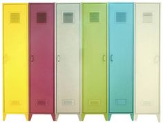 Already have 6 old metal floor lockers like these--repaint a similar blue & paint black chalkboard paint on the front. Put next to the entryway in the garage & use as storage for the kids coats, backpacks, shoes, etc. Maybe seperate them & put a bench in the middle?