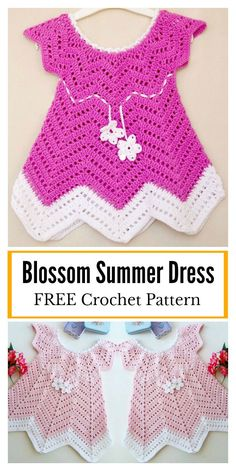 This Baby Blossom Summer Dress FREE Crochet Pattern will help you take that next stage in making baby clothes. This pattern is an easy crochet summer dress usin Crochet Baby Dress Free Pattern, Crochet Toddler Dress, Beau Crochet, Crochet Summer Dresses, Baby Dress Patterns, Baby Girl Crochet, Crochet Baby Clothes, Free Crochet, Crochet Patterns