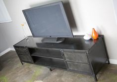 Steel Media Console (Open Middle) - Combine 9 | Reclaimed Wood Furniture