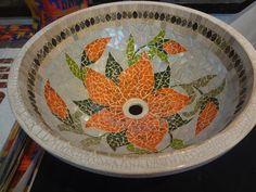 New Bathroom Sink Glass Bowl Tile Ideas Mosaic Birdbath, Mosaic Pots, Mosaic Glass, Mosaic Tiles, Stained Glass, Bathroom Sink Bowls, Bathroom Art, Bathrooms, Mosaic Crafts