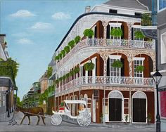 A Carriage Ride In The French Quarter - painting by Judy Jones fineartamerica.com #frenchquarter #carriageride #neworleans
