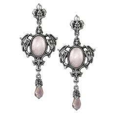 Seraph of Light Earrings  The radiance of the winged dome's soft glow emanates from the intrinsic fire of a Seraph, the celestial angels ordained to bestow charity and to protect God's throne. Handcrafted in England of fine pewter with pink oval cabochons and pink Swarovski crystals.