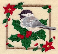 """Christmas Chickadee SquareProduct ID:C6489 Size:6.34""""(w) x 5.84""""(h) (160.9 x 148.5 mm)Color Changes:27 Stitches:56836Colors Used:16"""