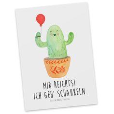 Postkarte Kaktus Luftballon aus Karton 300 Gramm  weiß - Das Original von Mr. & Mrs. Panda.  Jedes wunderschöne Motiv auf unseren Postkarten aus dem Hause Mr. & Mrs. Panda wird mit viel Liebe von Mrs. Panda handgezeichnet und entworfen.  Unsere Postkarten werden mit sehr hochwertigen Tinten gedruckt und sind 40 Jahre UV-Lichtbeständig. Deine Postkarte wird sicher verpackt per Post geliefert.    Über unser Motiv Kaktus Luftballon  Sommer, Sonne, Sonnenschein! Da darf natürlich der Kaktus…