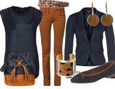 Navy & Camel working outfit