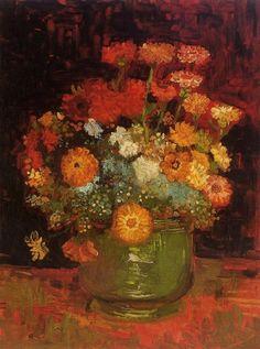 Van Gogh, Vincent - Vase with Zinnias - Post Impressionism - Oil on canvas - Still Life