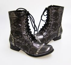 Iron Fist Ruff Rider Skull Lace Up Ankle Boot Vegan - Pewter Size 9 | eBay
