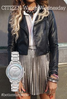 Photo Oh this biker look metallic skirt with black leather jacket is so me from Spring & Summer Fashion Trends And Outfit Ideas To Copy ASAP Fashion Mode, Look Fashion, Fashion Beauty, Womens Fashion, Fashion Trends, Fashion Bloggers, Teen Fashion, Nail Fashion, Fashion Outfits