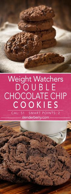 Weight Watchers Skinny Double Chocolate Chip Cookies Dessert Recipe with flour butter brown sugar sugar baking cocoa eggs and chocolate chips. Quick and easy low calorie low fat recipe. Very Low Calorie Foods, Low Calorie Cookies, Low Calorie Baking, Low Fat Cookies, Skinny Cookies, Double Chocolate Chip Cookies, Chocolate Cookie Recipes, Easy Cookie Recipes, Chocolate Chips