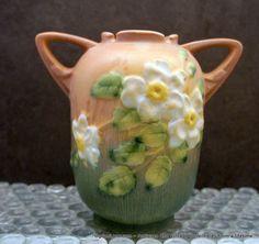 Roseville White Rose Vase 9796 by ogdenlane on Etsy, $195.00