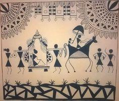 Image result for WARLI PAINTINGS. Worli Painting, Sketch Painting, Saree Painting, Coffee Painting, Madhubani Art, Indian Folk Art, Indian Art Paintings, Art Corner, Art N Craft
