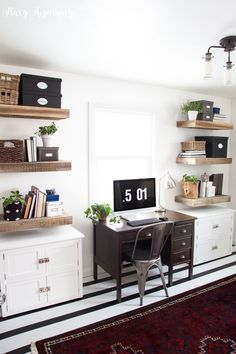 modern office with rustic touches