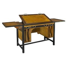 Authentic Models Winston Architect's Desk ($1,650) ❤ liked on Polyvore featuring home, furniture, desks, hardwood furniture, vertical desk, hardwood desk, antique style desk and expandable desk