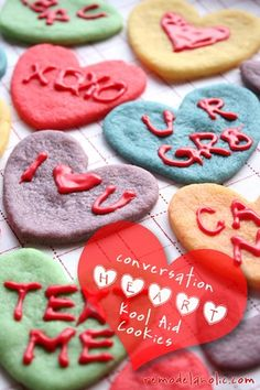 Kool Aid Cookies: Conversation Hearts