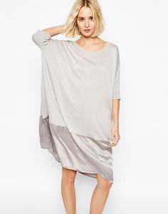Paisie+Relaxed+Fit+Dress+with+Silk+Panel+Hem