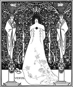 aubrey beardsley. my first tattoo is based on the crown and scroll work at the top.