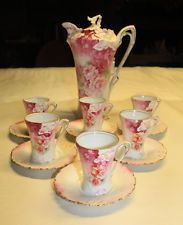 Antique RS Prussia Red Mark 14-Piece Chocolate Set Pink Roses-Demitasse Cups-EUC