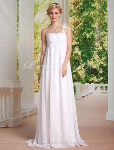 Empire Chiffon Floor-length Flower One Shoulder Wedding Dress - $172.99