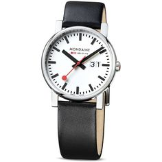Mondaine Big Watch, 40mm ($245) ❤ liked on Polyvore featuring jewelry, watches, mondaine watches, mondaine, black and white jewelry and black and white watches