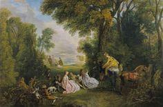 Rendez-vous de Chasse. Antoine Watteau 1718-20.