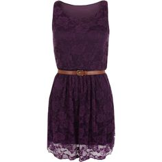 Carmen Lace Sleeveless Dress found on Polyvore featuring dresses, vestidos, purple, special occasion dresses, pleated cocktail dress, lace cocktail dress, purple evening dresses and floral lace dress