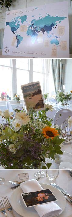 Travel theme wedding seating