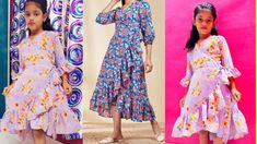 Baby Frock Pattern, Frock Patterns, Kids Frocks, Frocks For Girls, Girls Cuts, Skirts For Kids, No Frills, Kimono Top, Stitching