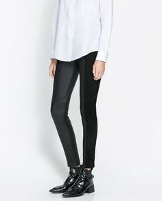 ZARA - NEW THIS WEEK - COMBINATION LEATHER STUDIO TROUSERS
