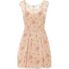RED Valentino Floral-print silk-chiffon dress ($325) ❤ liked on Polyvore featuring dresses, vestidos, short dresses, robes, neutral, pleated dresses, floral print dress, floral mini dress, pink cocktail dress and floral print cocktail dress