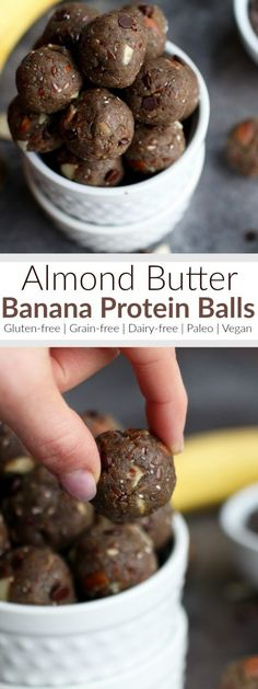 Almond Butter Banana Protein Balls are the perfect bite size snack that contain a healthy source of proteins, fats and carbs and with 5 grams of fiber and only 5 grams of sugar per serving they make for a great pre-workout snack or a sensible after dinner treat.   Paleo   Gluten-free   Grain-free   Dairy-free   Vegan-friendly   therealfoodrds.com