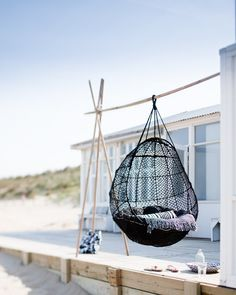 Hanging chair via Jeroen van der Spek: Exterior Design, Interior And Exterior, Deck Design, House Design, Design Hotel, Chair Design, White Deck, Relax, My Pool