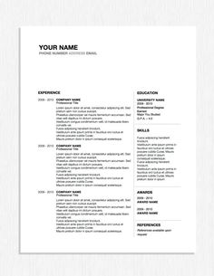 professional resume design word template by originalresumedesign 599 - Resume Builder Free Print