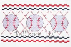 Baseball Faux Smocking Embroidery Design