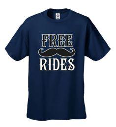 Funny T-shirt Mens Tshirt Free Mustache Rides Short Sleeve - Navy Blue, Size: XL