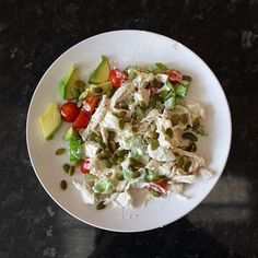 Not too pretty looking but a very quick throw together lunch just before heading to the #sunshinecoast for a holiday.  Chicken celery mayo salad with #pepitas and #avocado  #paleo #primal #lchf #lowcarbhighfat #lowcarb #hflc #goodfats #healthyfats #glutenfree #sugarfree #nutrientdense #nopacketfoods #eatyourvegetables #eattherainbow #jerf #realfood by rawfullygood