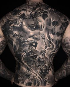 Ezequiel Samuraii's black and grey realistic tattoo- Tattoo artist Ezequiel Samuraii, authors black and grey portrait surrelistic horror tattoo realism Cool Back Tattoos, Back Piece Tattoo, Back Tattoos For Guys, Weird Tattoos, Badass Tattoos, Black Tattoos, Tattoo Black And Grey, Small Tattoos, Zeus Tattoo