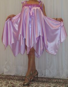 VTG Lingerie Double layer Satin Babydoll FULL Sweep Negligee Slip Nightgown M-6X