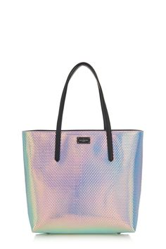The shimmering holographic finish on this Jamie tote bag imparts cool, futuristic style to your accessories collection this Summer.