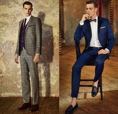 Ted Baker London 2014-2015 Fall Autumn Winter Mens Lookbook Collection Take The Lead - Knit Jersey Chinos Slacks Pants Trousers Colorblock Blazer Brogue Leather Outerwear Jacket Sportcoat Checks Bow Tie Paisley Long Sleeve Button Down Shirt Coat Shawl Collar Suit Windowpane Tuxedo Cocktail Birds Eye Royal Oxford Dogtooth