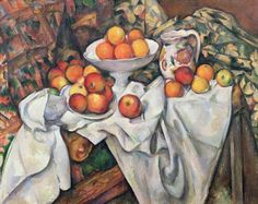 Paul Cézanne, 'Apples and Oranges'. The perspective is awkward. It's as if the apples & oranges are about to fall off the canvas. Cézanne pushed everything into the foreground & painted the objects from a variety of angles to capture the 'essence of form'. If you look closely at the apples, it's the same apple painted again & again from a variety of perspectives. Cézanne's complex spatial construction & dissection of form was a significant breakthrough for art, inspiring a generation of…