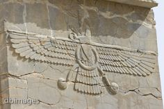 "The faravahar is the most important symbol of Zoroastrianism, seen here as carved at Persepolis. The man with his right hand shows obeisance to Ahura Mazda while he holds in his left hand a ring showing his promise to the god. The three layers of feathers in the wings represent good thought, good words and good deeds, while the three layers of feathers in the ""tail"" represent bad thoughts, bad words and bad deeds, which we should aim to put under us. The ring in the center represents the…"